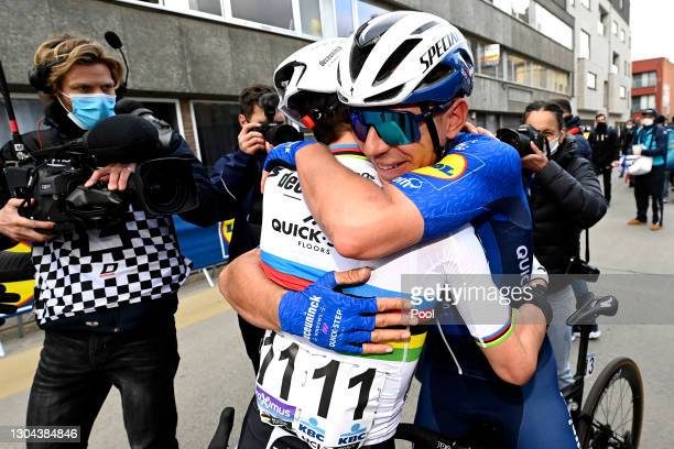 Arrival / Julian Alaphilippe of France & Davide Ballerini of Italy and Team Deceuninck - Quick-Step Celebration, during the 76th Omloop Het...
