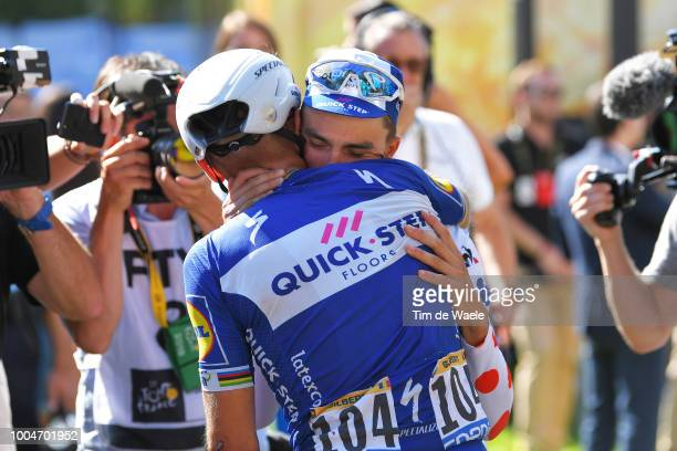 Arrival / Julian Alaphilippe of France Polka Dot Mountain Jersey and Team Quick-Step Floors / Philippe Gilbert of Belgium and Team Quick-Step Floors...
