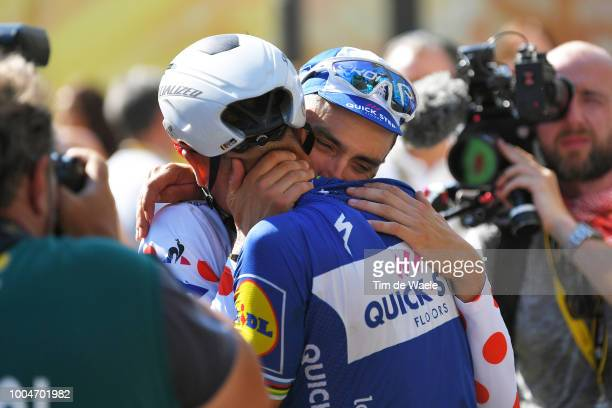 Arrival / Julian Alaphilippe of France Polka Dot Mountain Jersey and Team QuickStep Floors / Philippe Gilbert of Belgium and Team QuickStep Floors /...