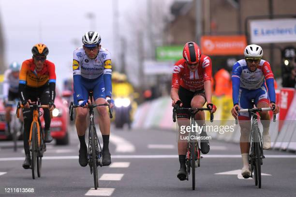 Arrival / Kasper Asgreen of Denmark and Team Deceuninck - Quick-Step / Nico Denz of Germany and Team Sunweb / Olivier Le Gac of France and Team...