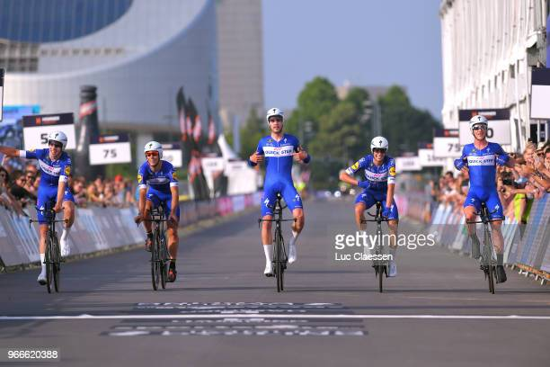 Arrival / Kasper Asgreen of Denmark / Philippe Gilbert of Belgium / Alvaro Jose Hodeg of Colombia / Yves Lampaert of Belgium / Enric Mas of Spain /...