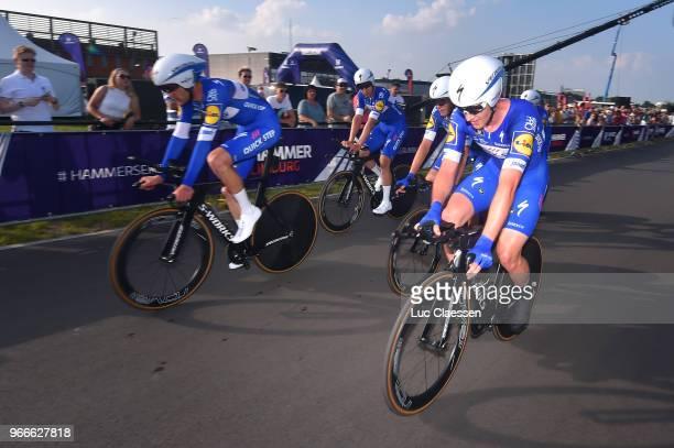 Arrival / Kasper Asgreen of Denmark / Philippe Gilbert of Belgium / Alvaro Jose Hodeg of Colombia / Yves Lampaert of Belgium / Enric Mas of Spain /...