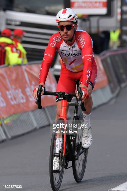 Arrival / Kenneth Vanbilsen of Belgium and Team Cofidis Solution Credits during the 10th Grote Prijs Jean, Pierre Monseré 2021 a 202,1km stage from...