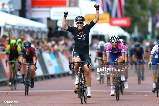 Arrival / Kirsten Wild of The Netherlands and Team Wiggle High5 / Celebration / during the 3rd Prudential RideLondon-Classique 2018 a 64,8km women's...