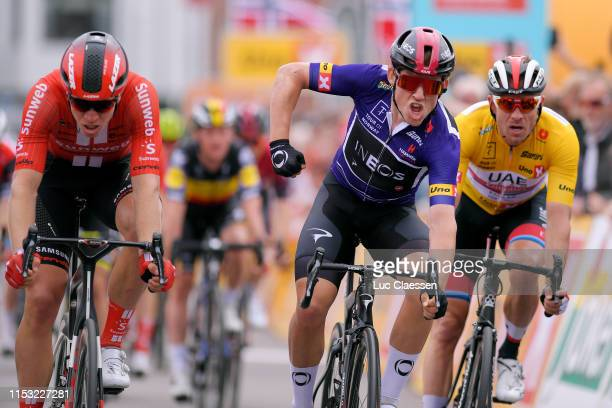Arrival / Kristoffer Halvorsen of Norway and Team INEOS Blue Sprint Jersey / Celebration / Cees Bol of The Netherlands and Team Sunweb / Alexander...