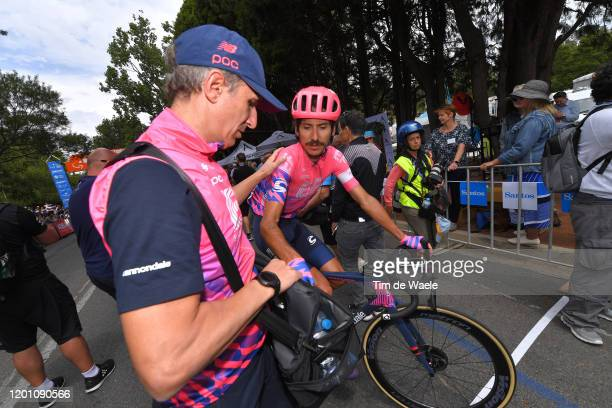 Arrival / Lachlan Morton of Australia Team EF Pro Cycling / Soigneur / Refreshment / during the 22nd Santos Tour Down Under 2020, Stage 2 a 135,5km...
