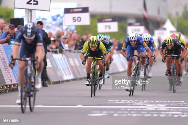 Arrival / Lasse Norman Hansen of Denmark and Team Aqua Blue Sport / Caleb Ewan of Australia and Team MitcheltonScott / Luka Mezgec of Slovenia and...