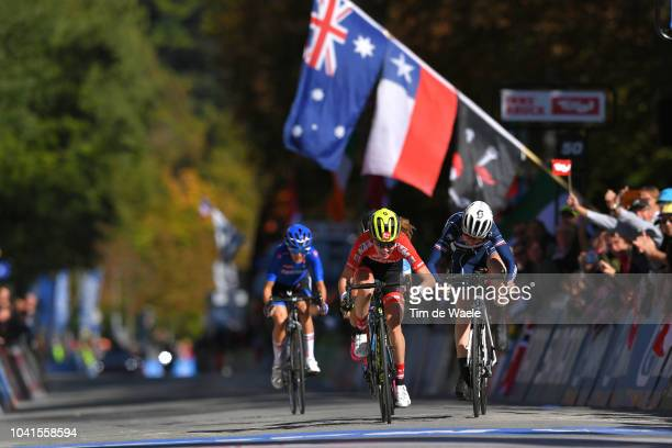 Arrival / Laura Stigger of Austria / Marie Le Net of France / Simone Boilard of Canada / Sprint / during the Women Juniors Road Race a 717km race...