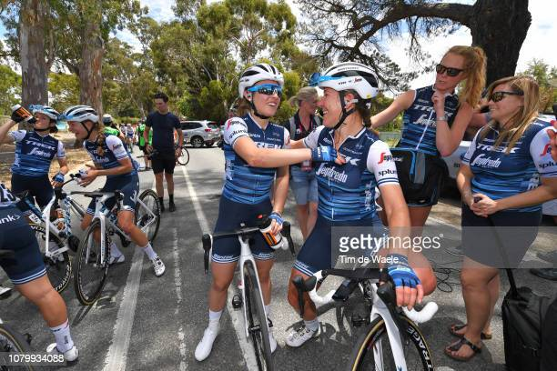 Arrival / Lauretta Hanson of Australia and Team Trek-Segafredo / Letizia Paternoster of Italy and Team Trek-Segafredo / during the 5th Santos Women's...
