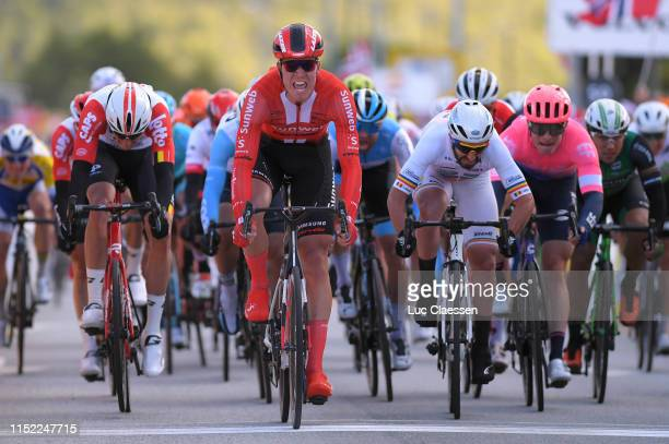 Arrival / Lawrence Naesen of Belgium and Team Lotto Soudal / Cees Bol of The Netherlands and Team Sunweb Celebration / Eduard Michael Grosu of...