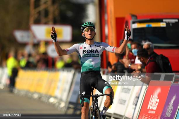 Arrival / Lennard Kämna of Germany and Team BORA - Hansgrohe Celebration, during the 100th Volta Ciclista a Catalunya 2021, Stage 5 a 201,5km stage...