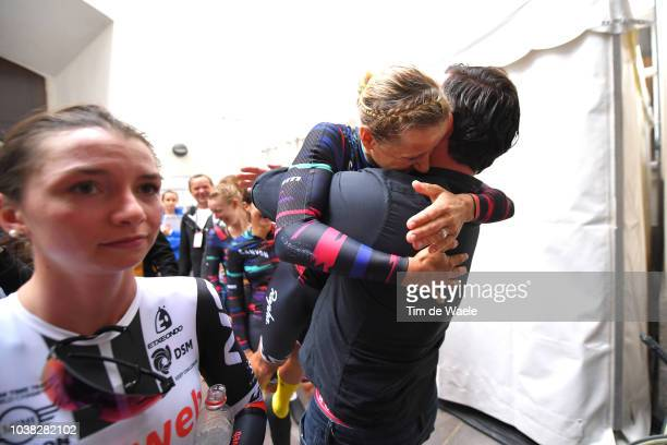 Arrival / Liane Lippert of Belgium and Team Sunweb Disappointment / Ronny Lauke of Germany Team Manager and Sports Director Canyon Sram Racing of...