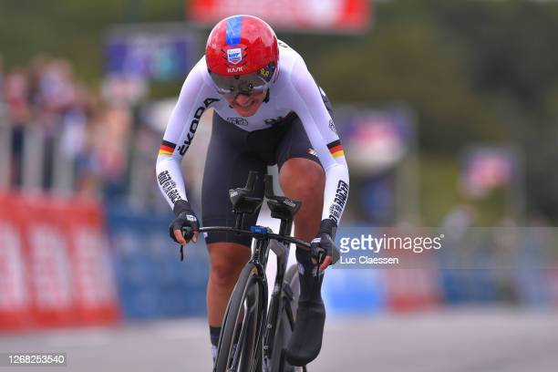 Arrival / Lisa Brennauer of Germany / during the 26th UEC Road European Championships 2020 - Women's Elite Individual Time Trial a 25,6km race from...