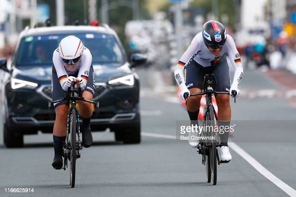Arrival / Lisa Brennauer of Germany / Lisa Klein of Germany / Mieke Kroger of Germany / during the 25th UEC Road European Championships 2019 - Mix...