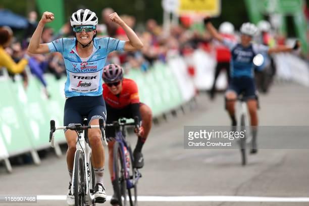 Arrival / Lizzie Elizabeth Armitstead-Deignan of United Kingdom and Team Trek - Segafredo Blue HSBC UK British Cycling best British rider jersey /...