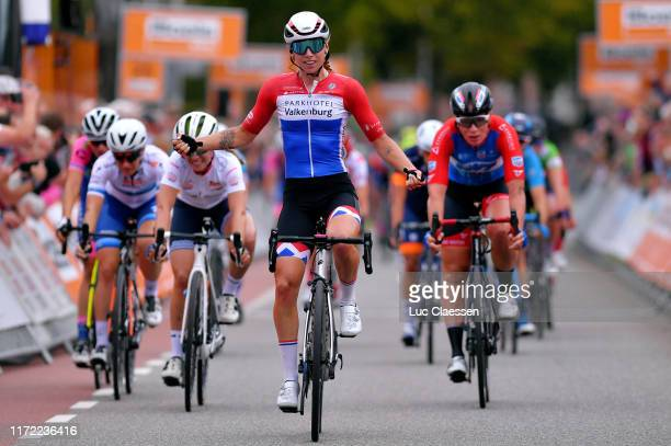 Arrival / Lorena Wiebes of The Netherlands and Team Parkhotel Valkenburg / Celebration / Letizia Paternoster of Italy and Team Trek- Segafredo We...