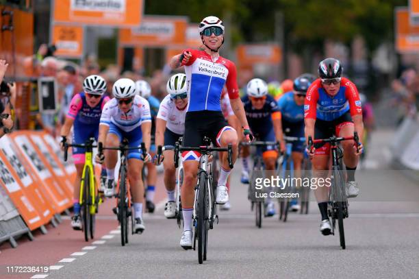 Arrival / Lorena Wiebes of The Netherlands and Team Parkhotel Valkenburg / Celebration / Letizia Paternoster of Italy and Team Trek Segafredo We...