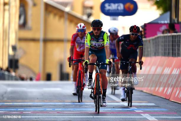 Arrival / Lorenzo Rota of Italy and Team Vini Zabu KTM / during the 103rd Giro d'Italia 2020, Stage 2 a 149km stage from Alcamo to Agrigento 243m /...