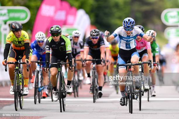 Arrival / Lotta Pauliina Lepisto of Finland and CerveloBigla Pro Cycling Team / Celebration / Giorgia Bronzini of Italy and Team Cylance Pro Cycling...