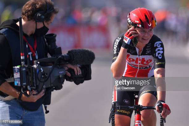 Arrival / Lotte Kopecky and Team Lotto Soudal Ladies / Celebration / Phone / during the 121st Belgian Road Championship 2020 - Road Race - Elite...