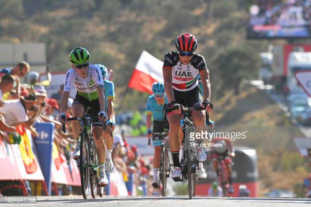 Arrival / Louis Meintjes of South Africa and Team Dimension Data / Valerio Conti of Italy and UAE Team Emirates / during the 73rd Tour of Spain 2018,...