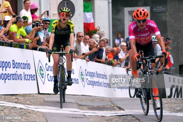 Arrival / Lucy Kennedy of Australia and Team Mitchelton Scott / Celebration / Marianne Vos of The Netherlands and Team CCC Liv Cyclamen Points Jersey...