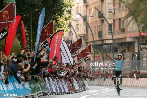 Arrival / Luis León Sanchez Gil of Spain and Astana Pro Team / Celebration / Public / Fans / during the 40th Vuelta a Murcia 2020, Stage 2 a 179,6km...