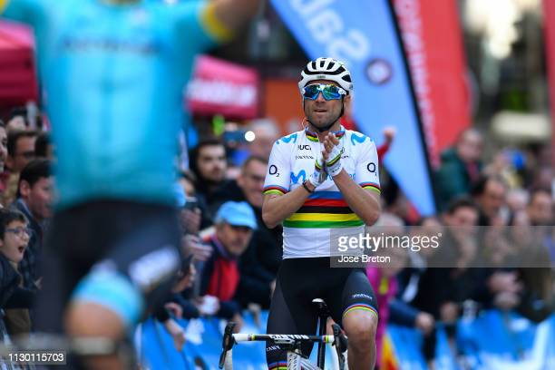 Arrival / Luis Leon Sanchez of Spain and Astana Pro Team / Alejandro Valverde of Spain and Movistar Team World Champion Jersey / Celebration / during...