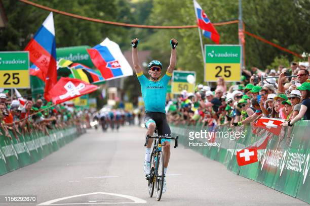 Arrival / Luis Leon Sanchez of Spain and Astana Pro Team / Celebration / during the 83rd Tour of Switzerland, Stage 2 a 159,6km stage from Langnau im...