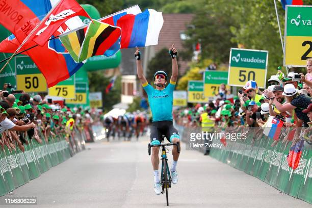 Arrival / Luis Leon Sanchez of Spain and Astana Pro Team / Celebration / Public / Fans / during the 83rd Tour of Switzerland, Stage 2 a 159,6km stage...