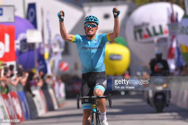 Arrival / Luis Leon Sanchez of Spain and Astana Pro Team / Celebration / during the 42nd Tour of the Alps 2018 Stage 4 a 1344 stage from...