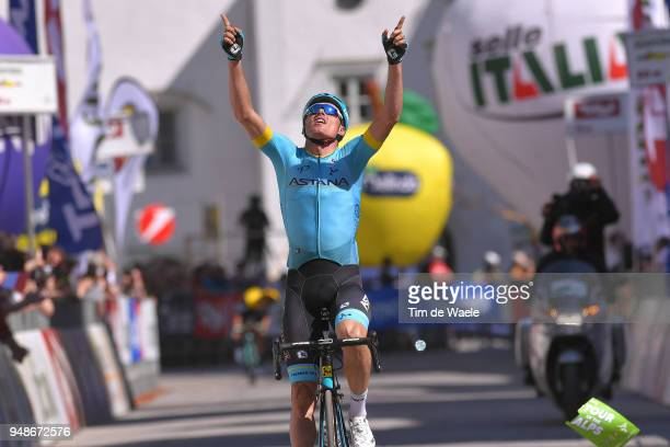 Arrival / Luis Leon Sanchez of Spain and Astana Pro Team / Celebration / during the 42nd Tour of the Alps 2018, Stage 4 a 134,4 stage from...