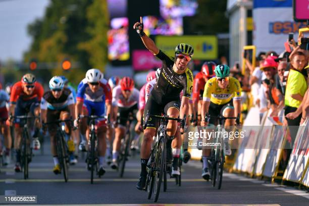 Arrival / Luka Mezgec of Slovenia and Team Mitchelton Scott / Celebration / Fernando Gaviria of Colombia and UAE Team Emirates White Sprint Jersey /...