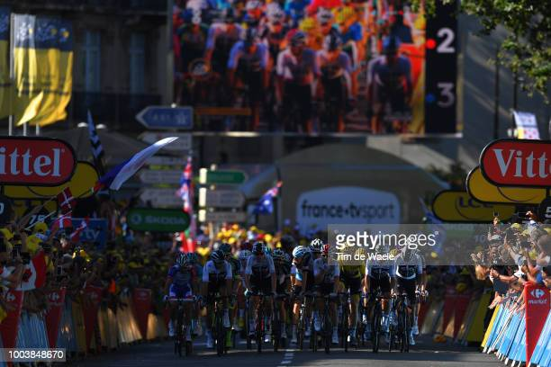 Arrival / Luke Rowe of Great Britain and Team Sky / Christopher Froome of Great Britain and Team Sky / Michal Kwiatkowski of Poland and Team Sky /...