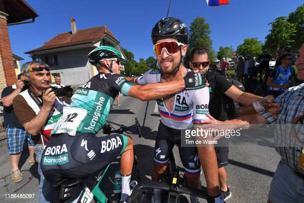 Arrival / Maciej Bodnar of Poland and Team Bora-Hansgrohe / Peter Sagan of Slovakia and Team Bora-Hansgrohe / Celebration / during the 83rd Tour of...
