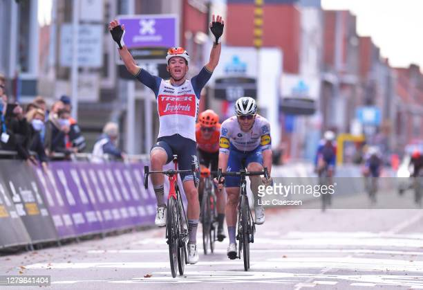 Arrival / Mads Pedersen of Denmark and Team Trek - Segafredo / Celebration / Florian Senechal of France and Team Deceuninck - Quick-Step / Matteo...