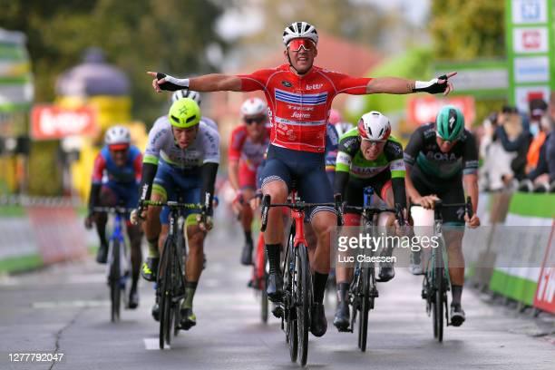 Arrival / Mads Pedersen of Denmark and Team Trek - Segafredo Red Points Jersey / Celebration / Jasper Philipsen of Belgium and UAE Team Emirates...
