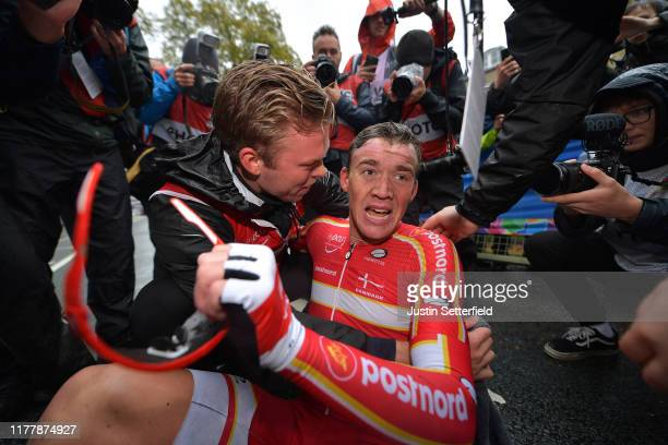 Arrival / Mads Pedersen of Denmark / Celebration / during the 92nd UCI Road World Championships 2019, Men Elite Road Race a 261,8km race from Leeds...