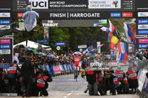 Arrival / Mads Pedersen of Denmark / Celebration / Matteo Trentin of Italy / Stefan Kung of Switzerland / during the 92nd UCI Road World...
