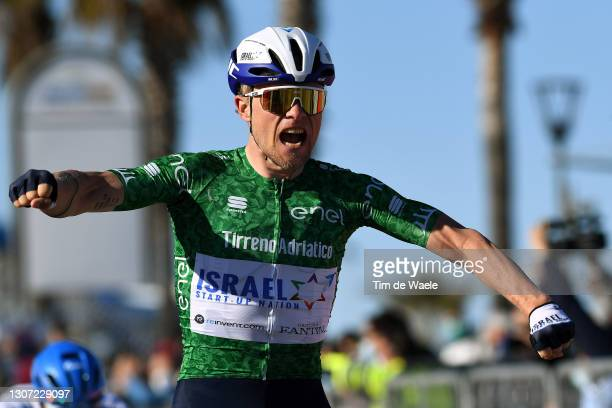 Arrival / Mads Wurtz Schmidt of Denmark and Team Israel Start-Up Nation Green Mountain Jersey Celebration, during the 56th Tirreno-Adriatico 2021,...
