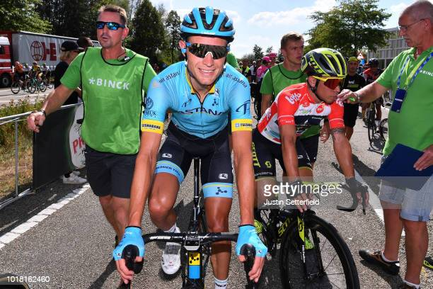 Arrival   Magnus Cort Nielsen of Denmark and Astana Pro Team   Celebration    Caleb Ewan 4ded1c906