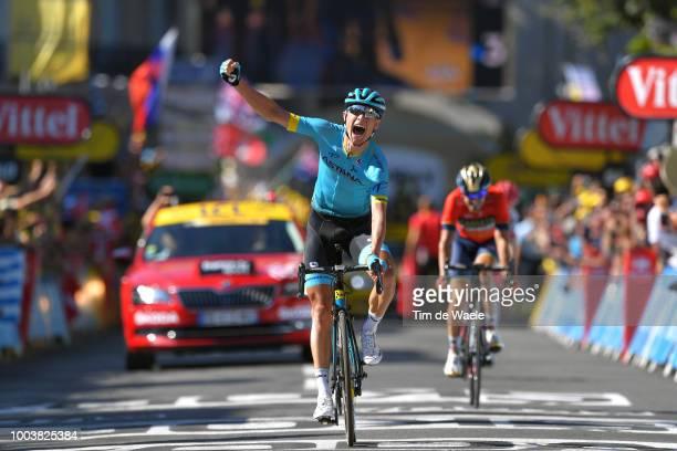 Arrival / Magnus Cort Nielsen of Denmark and Astana Pro Team / Celebration / Jon Izaguirre Insausti of Spain and Bahrain Merida Pro Team / during the...