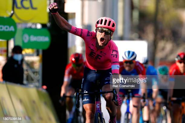 Arrival / Magnus Cort Nielsen of Denmark and Team EF Education - Nippo Celebration, during the 79th Paris - Nice 2021, Stage 8 a 92,7km stage from Le...