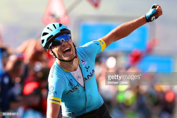 Arrival / Magnus Cort of Denmark and Astana Pro Team / Celebration / during the 4th Tour of Yorkshire 2018, Stage 2 a 149km stage from Barnsley to...
