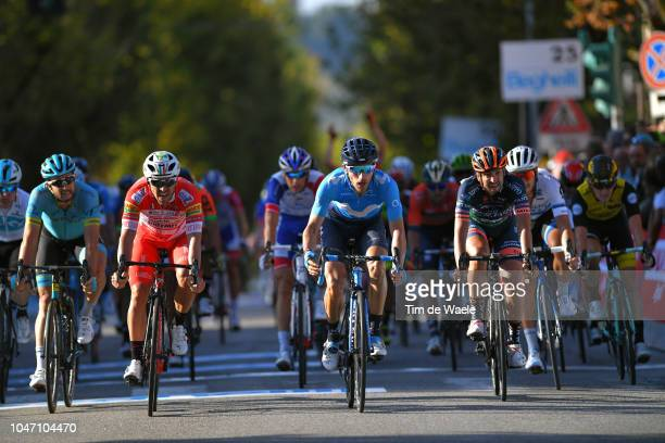 Arrival / Manuel Belletti of Italy and Team Androni Giocattoli / Carlos Barbero of Spain and Movistar Team / Celebration / Michael Grosu of Romania...
