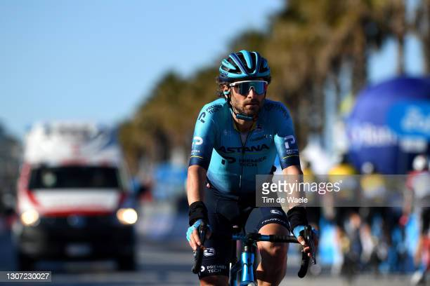 Arrival / Manuele Boaro of Italy and Team Astana – Premier Tech during the 56th Tirreno-Adriatico 2021, Stage 6 a 169km stage from Castelraimondo to...