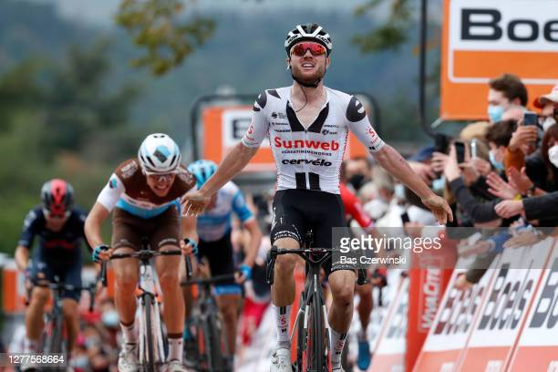 Arrival / Marc Hirschi of Switzerland and Team Sunweb / Celebration / Benoit Cosnefroy of France and Team AG2R La Mondiale / during the 84th La...