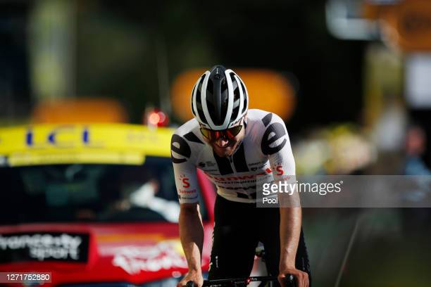 Arrival / Marc Hirschi of Switzerland and Team Sunweb / Celebration / during the 107th Tour de France 2020, Stage 12 a 218km stage from Chauvigny to...