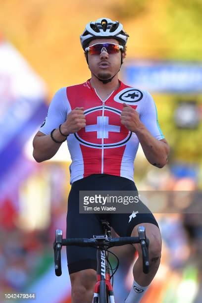 Arrival / Marc Hirschi of Switzerland / Celebration / during the Men Under 23 Road Race a 179,9km race from Kufstein to Innsbruck 582m at the 91st...
