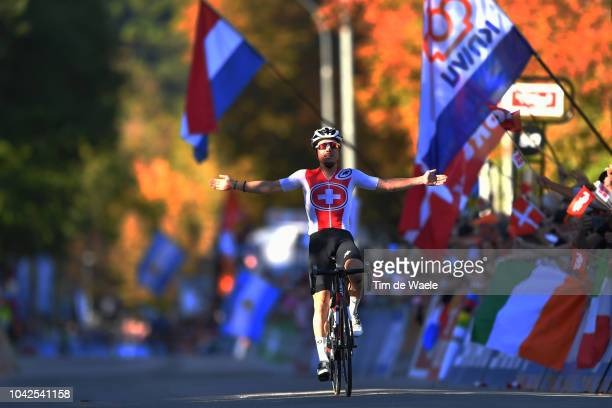 Arrival / Marc Hirschi of Switzerland / Celebration / during the Men Under 23 Road Race a 1799km race from Kufstein to Innsbruck 582m at the 91st UCI...